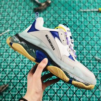 Balenciaga Triple S Clear Sole Trainers Grey/Blue Sneakers - Best Online Sale