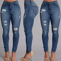Fashion Women Sexy Denim Skinny Ripped Pants High Waist Stretch Jeans Slim Pencil Trousers