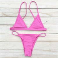 Pink-Sexy Women Swimsuit Micro Bikini Set Bathing Suits With Halter Strap Swimwear Brazilian bottom Monokini(9-color) -0314