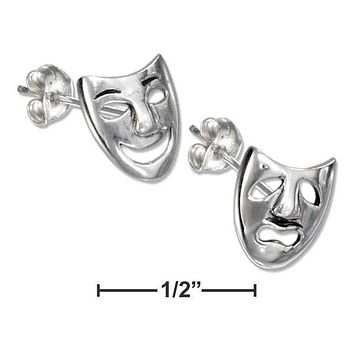 STERLING SILVER COMEDY AND TRAGEDY MASK EARRINGS