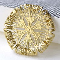 Raw Brass Filigree Round Withered Flower Stamping Embellishments 30mm Set of 10 A8090