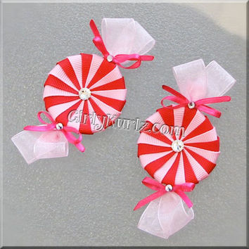 Valentine Peppermint Hair Clip Red and Pink Hair Clip Valentine Hair Bow