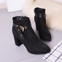 Hasp Rivets Pointed Toe Middle High Chunky Heel Short Martin Boots