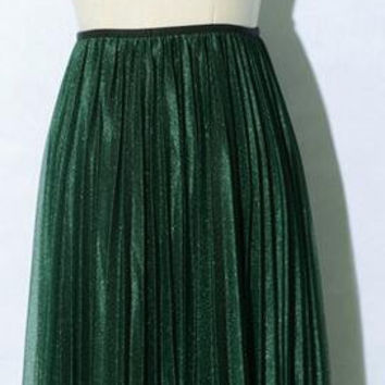 Retro Pleated Elastic Waist Long Veil Skirt