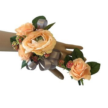 Wrist Corsage and Boutonniere Set: Ranunculus Buttercup and Rose Peach Flowers