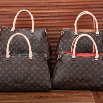 Gotopfashion Louis Vuitton Women Leather Zipper Satchel Tote Travel Bag Handbag