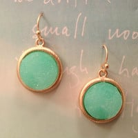 Pree Brulee - Mint Druzy Circle Earrings