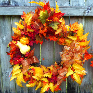 Fall Front Door Wreath- Gourds- Berries- Made to Order
