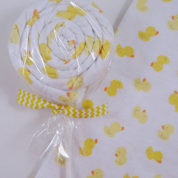 Duck Neutral baby gift Receiving Blanket lollipop gender neutral