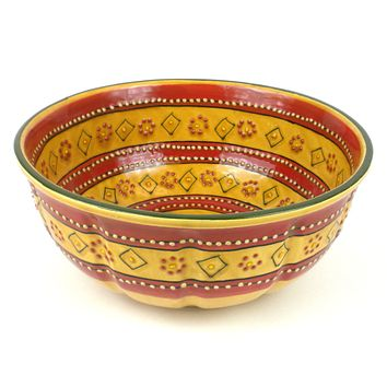 Mexican Ceramic Pottery Large Bowl - Red - encantada