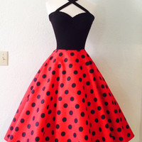 Sexy Rockabilly Halter Dress, Cherry Red Polkadot Swing Dress, 1950s Style Pin Up Party Dress, Rock n Roll Bridesmaid