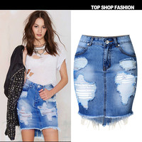 Women's Fashion Ripped Holes Ladies Denim Irregular Split Sexy Skirt [6451818180]