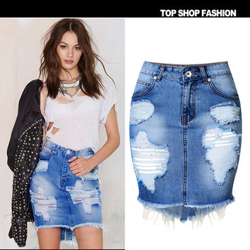 Women's Fashion Ripped Holes Ladies Denim Irregular Split Sexy Skirt [7976024897]