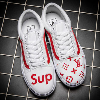 Vans x Supreme x LV Old Skool Flats Sneakers Sport Shoes