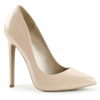 "SEXY-20, 5"" Heel Pointed Toe Pump in Nude Patent"