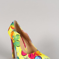 Floral Print Wavy Edge Pointy Toe Stiletto Pump Size: 8, Color: Pink Floral