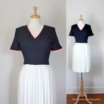 Vintage 50s Dress  / Country Club Frock / Preppy Tennis Style Day Dress / Red, White & Blue Ivy Style / 50s Fashion