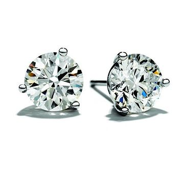2.45 Carat Diamond Stud Earrings Set in 14K White Gold Setting