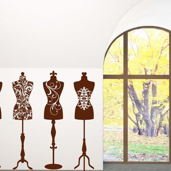 Vinyl Decal Couture Wall Sticker Beauty Fashion Studio Dress Mannequins Unique Gift (n393)