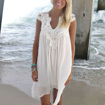 White Cut-Out Lace Crochet Patchwork Chiffon Dress