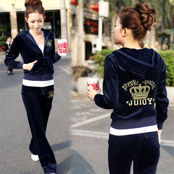 Spring Fall 2016 Women's Fashion Brand Velvet Fabric Tracksuits Velour Suit Sport Track Suit Hoodies And Pants Plus Size XL XXL
