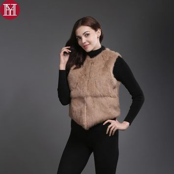 2017 Hot Sale Women Real Genuine Rabbit Fur Vests  Fashion 100% Real Rabbit Fur Gilet Real Rabbit Fur Short Sleeveless Coat