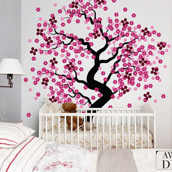 """Cherry Blossom Wall Decal - Baby Nursery Wall Decal -  Tree Wall Decal - 80"""" x 71"""" - 015"""