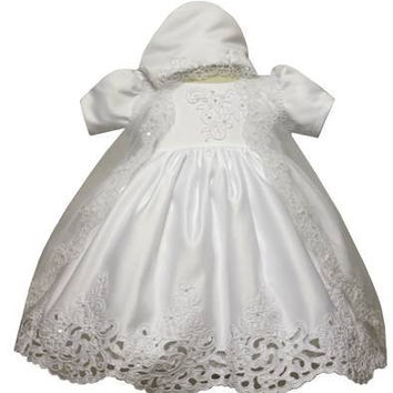Baby Girl Toddler Christening Baptism Dress Gowns outfit set with bonnet /XS/S/M/L/XL/0-3M/3-6M/6-12M/12-18M/18-24M/XSMALL/SMALL/MEDIUM/LARGE/XL/2t/#5423
