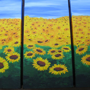 sunflower sunflowers sun flowers bright yellow set three 3 canvases colorful wall decor huge large painting art blossom sunny colourful