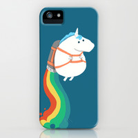 Fat Unicorn on Rainbow Jetpack iPhone & iPod Case by Budi Satria Kwan