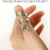 Sterling Silver Honeycomb Ring with Tiny Bee, Handmade, Hexagon, .925, Metal, Custom