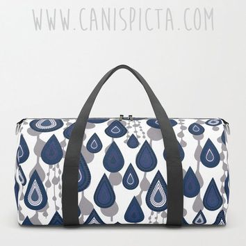 Rain Raindrop DUFFEL BAG Travel Suitcase Blue Navy Weather Storm Water Purple Luggage Carryall Gym Strap Unique Art Deco Geometric Teardrop