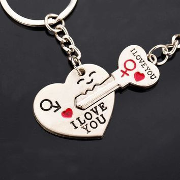 Keychain  I love you heart-shaped