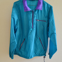 Blue & Purple Windbreaker Half Zip Jacket 90s Vintage Oversized Medium