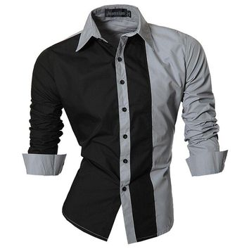 Spring Men's Patchwork Shirts Men Long sleeve Shirt Casual Slim Male Shirts Social
