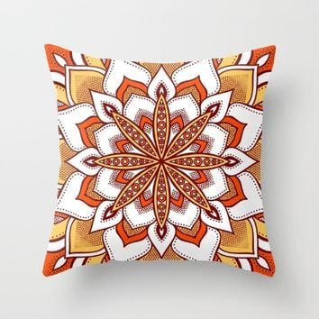 Orange Flower Mandala Throw Pillow by SimplyChic