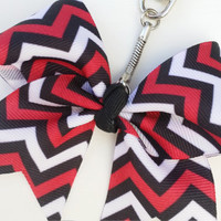 Mini bow key chain, red and black bow purse charm, red and black key chain, teacher gift, key ring, chevron key chain, gift for mom