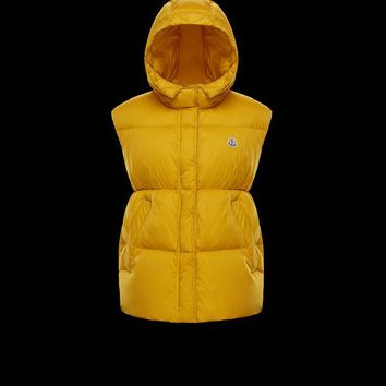 Moncler CHEVECHE ochre Women's Vests - Best Deal Online
