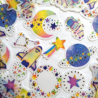 planet sticker beautiful stars planets label Astronaut Outer Space flake Stickers mystery Galaxy world icon fancy night sticky set