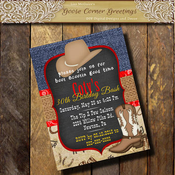 COWBOY BIRTHDAY Blue Denim Invitation Chalkboard Bandana Burlap 15th 21st 30th 40th Boots Hat  Mens Bridal Shower Western Invite Country
