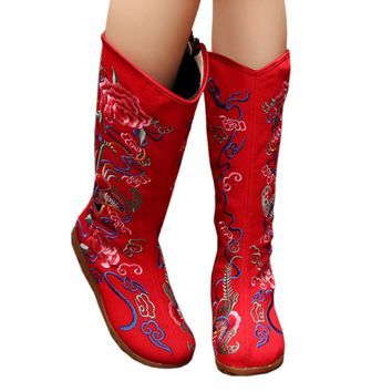 Fashion Online Vintage Beijing Cloth Shoes Embroidered Boots Red