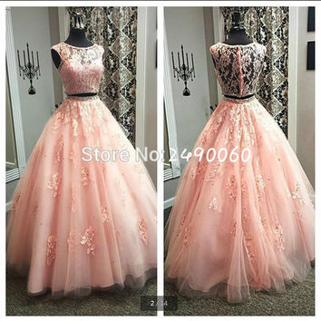 New designer 2016 pink lace ball gown two piece prom dress scoop neck beading prom gowns real picture prom dresses