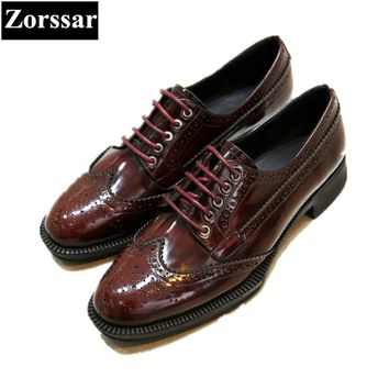 {Zorssar} Women Handmade Shoes Fashion Real cow leather Womens flats Oxford shoes lace-up Women's Vintage brogue shoes