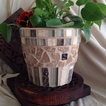 Handmade mosaic flower pot, indoor planter, outdoor garden pot, kitchen planter, herb pot, rustic mosaic planter, patio decoration,