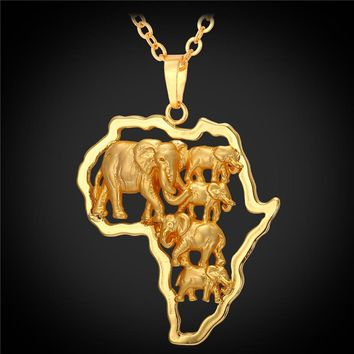 Hot Yellow Gold Color African Map Jewelry Lucky Men/Women Ethnic Africa Elephant /Lion/Antelope Animal Pendant Necklace P1924