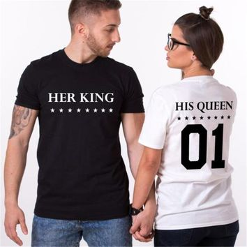Her king his queen shirts  King Queen Couples T-Shirts Funny Lovers Printed T Shirt Men Women Casual Cotton Tshirt Tops