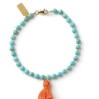 Tess and Tricia Matte Turquoise + Orange Tassel Bracelet