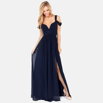 Summer Spring Women V-neck Chiffon Banquet Dresses Pleated Elegant Long Dress Cocktail Party Style AWD0014