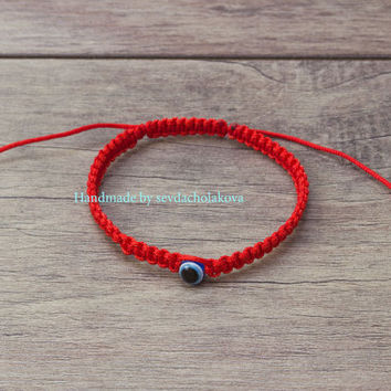 Blue Evil Eye Bracelet. Red String Kabbalah Bracelet. Lucky, Wish Bracelet. Macrame Bracelet. Family Protect - Women, Men, Baby, Children