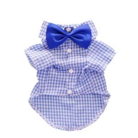 Fitwarm® Casual Plaid Dog Shirt Western Dog T-Shirt Dog Clothes + Dog Wedding Bow, Blue, Large